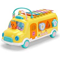 Push & Pull School Bus Toys. Learning Educational Vehicles with Shape sorter Puzzles Knocking Piano Music Toy Gifts for…