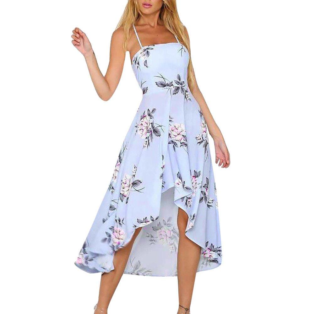 Strapless Dress,Womens Holiday Plunge Ladies Maxi Long Summer Floral Print Beach Dress L,Blue,L