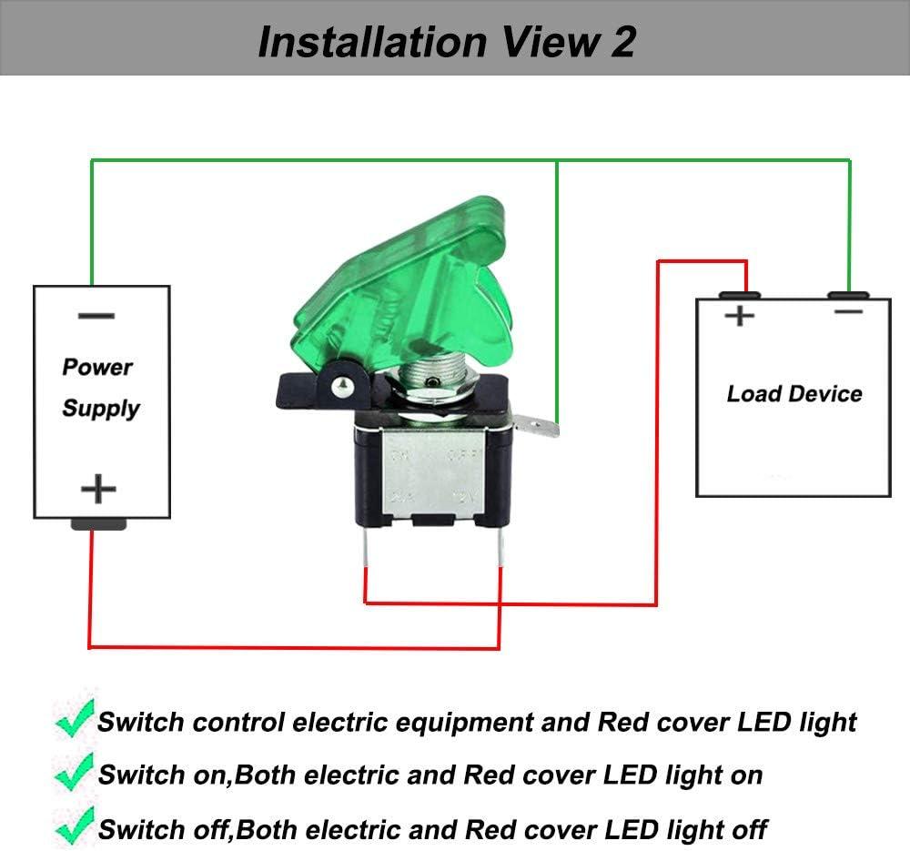 ON-OFF 2 Positions 3 Broches SPST Interrupteur Bascule 20A // 12VDC Vert LED Indicateur Vert /Étanche Couverture QitinDasen 4Pcs Professionnel Voiture Commutateur /à Levier pour Bateau Auto Camion