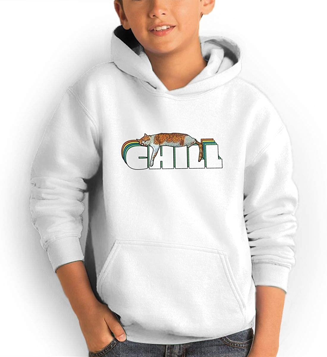 JiaWenChensaf Boy and Girl CHILL Cool Teen Hooded Pocket Sweater Black