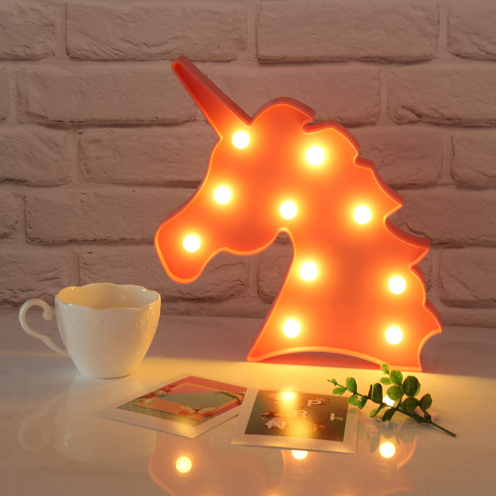 Atomcool Unicorn Night Light, Pink Unicorn Lamp Lights, Battery Operated Decorative Marquee Signs Table Lamp for Wall Decoration, Kids' Room, Living Room, Bedroom, Party as Kids Gift
