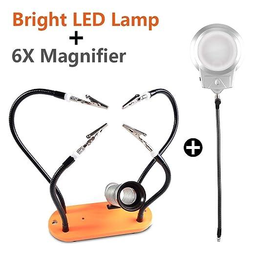 Magnifierks 6X Lupa lámpara de Mesa lámpara Manos de Ayuda con led ...