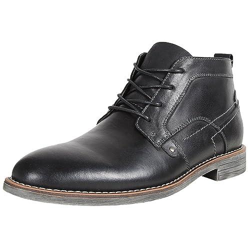 rismart Hombre Tobillo Alto Redondo Dedo del pie Popular Cuero Chukka Botas: Amazon.es: Zapatos y complementos