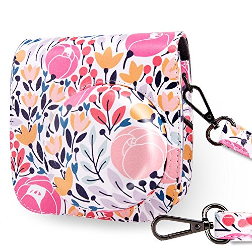 WOLVEN Protective Case Bag Purse Compatible The Fugifilm Mini 9 / Mini 8 / Mini 8+ Instant Camera, Pink Flower Floral ()