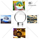 """(2-4/11"""" Dia, K9 Clear) - Crystal Meditation Ball Globe Suit with Free Stand and Pouch, 60mm, Clear"""