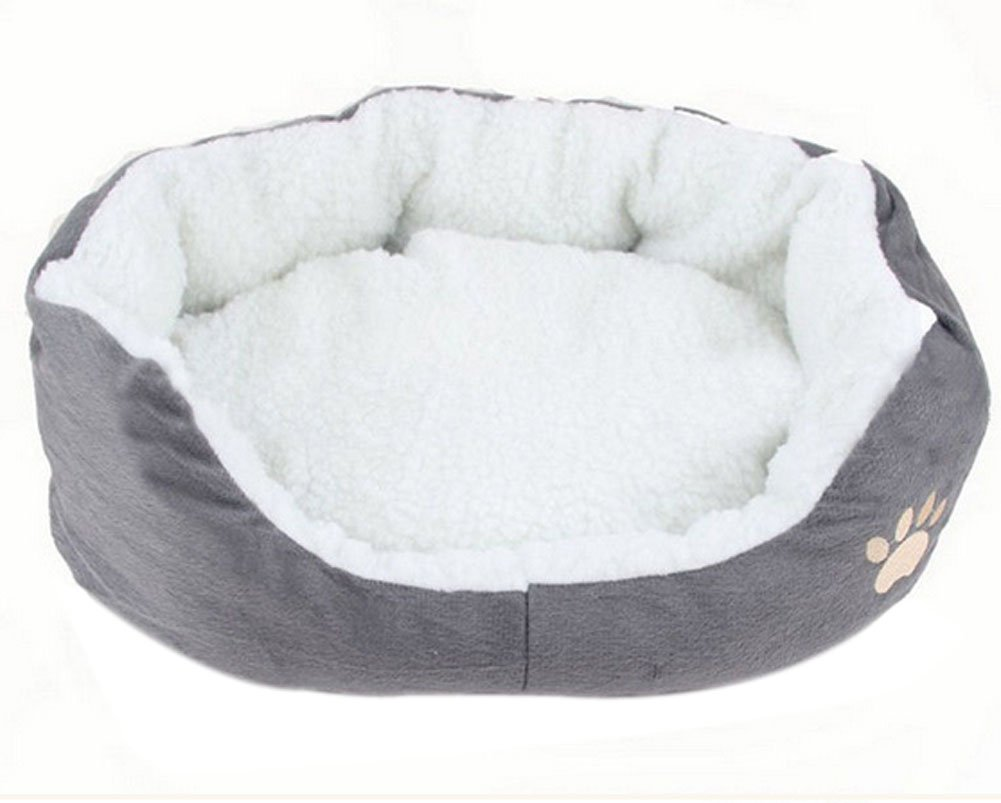 WeiMay Round or Oval Shape Dimple Fleece Nesting Dog Cave Bed for Cats and Small Pets,1 pcs - Grey