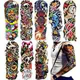 """18.9x6.7"""" Fashion Temporary Tattoo Transfer Stickers - 8 Sheets Large Tattoo Body Stickers for Man Women Girl Fake Tattoo Waterproof Removeable Non-Toxics & Safe for All Skin Body Tattoo, Colorful"""