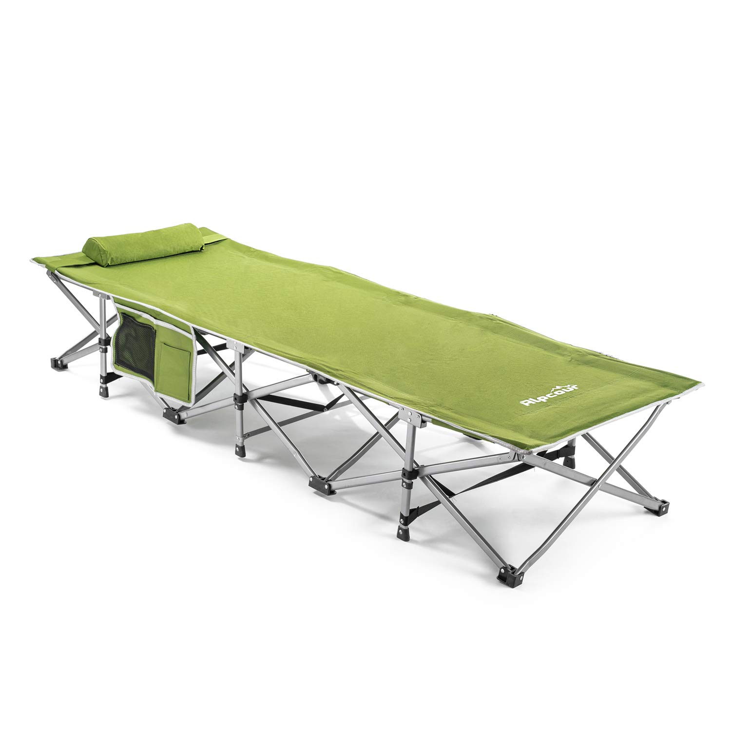 Alpcour Folding Camping Cot – Small-Collapsing Extra Strong Single Person Bed in a Bag w/Pillow for Indoor & Outdoor Use – Deluxe Comfortable Extra Heavy Duty Design Holds Adults & Kids Up to 440 Lbs