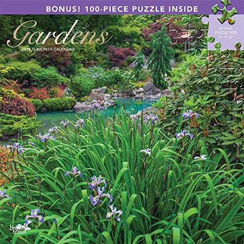 Gardens 2019 12 x 12 Inch Monthly Square Wall Calendar & Puzzle Set with Foil Stamped Cover, Gardening Outdoor Home Country Nature ()