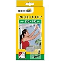 Schellenberg 50714 Fliegengitter für Fenster   zuverlässiger Schutz vor Mücken, Fliegen, Insekten & Ungeziefer   Maße: 130 x 150 cm   weiß   einfache Montage ohne bohren   inkl. Befestigungsband