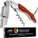 Professional Waiter's Corkscrew by HiCoup – Red Pear Wood Handle All-in-one Corkscrew, Bottle Opener and Foil Cutter…