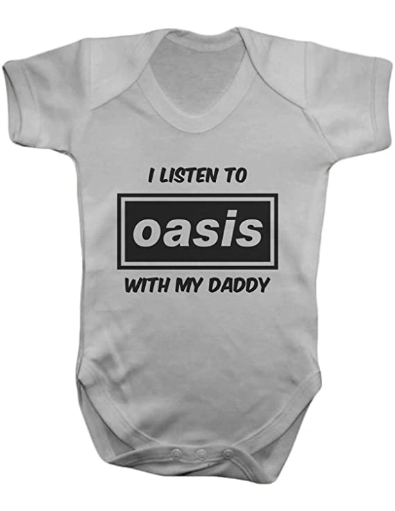 I Listen to Oasis WIth My Daddy Baby Romper Onesie, 0-12 Months
