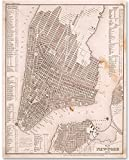 vintage nyc map - New York City Map Art From 1844-11x14 Unframed Patent Print - Great for Home Decor