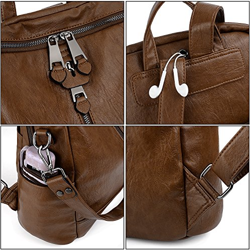 UTO Women Backpack Purse PU Washed Leather Convertible Ladies Rucksack Zipper Pockets Earphone Hole Shoulder Bag Brown by UTO (Image #2)