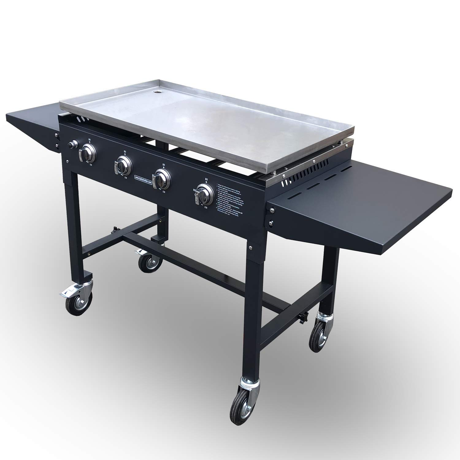 Tasty Trotter Griddle - Hot Plate - BBQ - Portable Barbecue - Ideal for bulk production of burgers, bacon, eggs, etc. - Will keep food hot without too much drying out - 4 Burners LPG - Model TT04