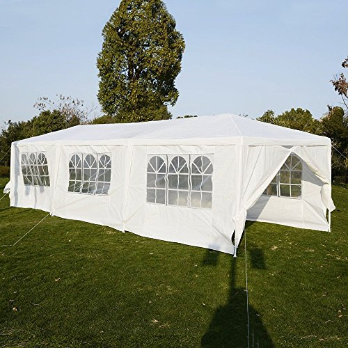 Z ZTDM 10'x30′ Wedding Party Tent Outdoor Waterproof Camping Gazebo Canopy 8 Removable Walls White
