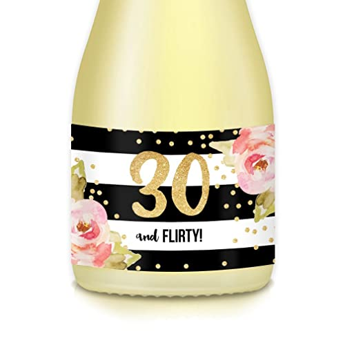 Womens Milestone 30th Surprise Birthday Adult Woman Thirtieth Party Ideas Mini Champagne Wine Bottle Labels 20 Count Decals 30 FLIRTY Celebrate