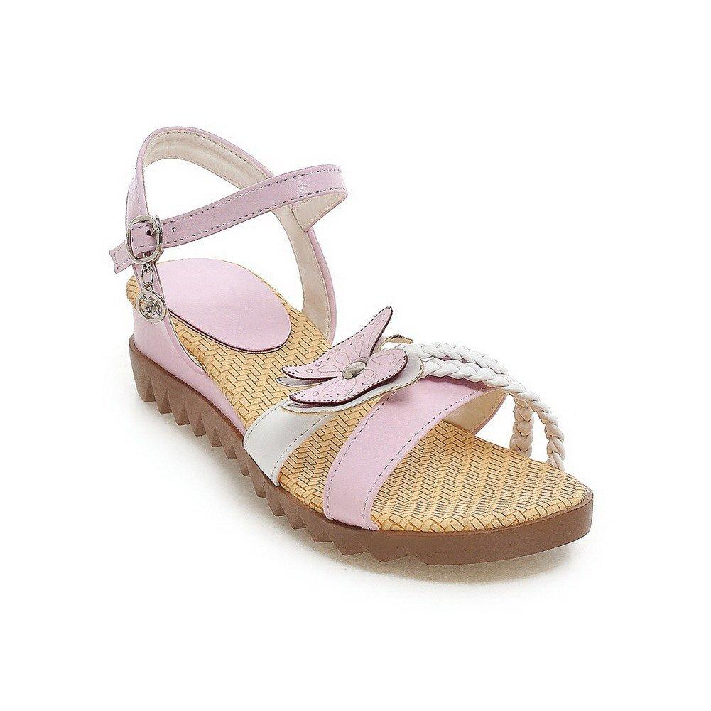 AllhqFashion Women's PU Assorted Color Buckle Open Toe Low-heels Wedges-Sandals, Pink, 36