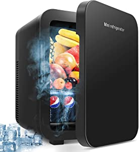 MOSAJIE Mini Fridge, 10 Liter/12 Can Cooler and Warmer Large Capacity Portable Refrigerator for Skincare/Foods/Medications/Travel/Car/Home/Bedroom/Office/Dorm