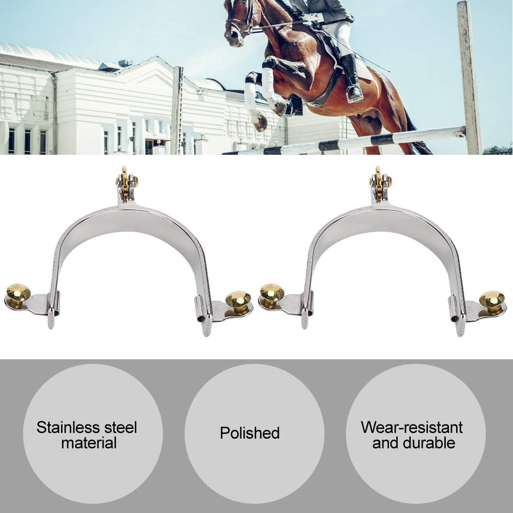 TOPINCN Spurs Western Stainless Steel Spurs Riding Horse Roping Spurs with Brass Gear for Riding Equestrian to Horse for Men