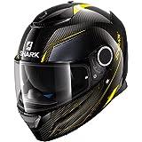 Shark casco integral Spartan, carbono negro, talla L, amarillo