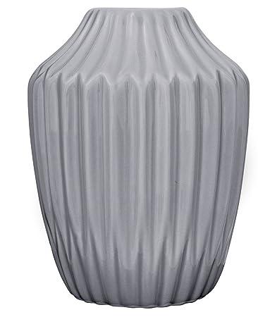 Bloomingville Vase Geriffelt Grau Blumenvase Skandinavisch Porzellan Höhe  13 Cm