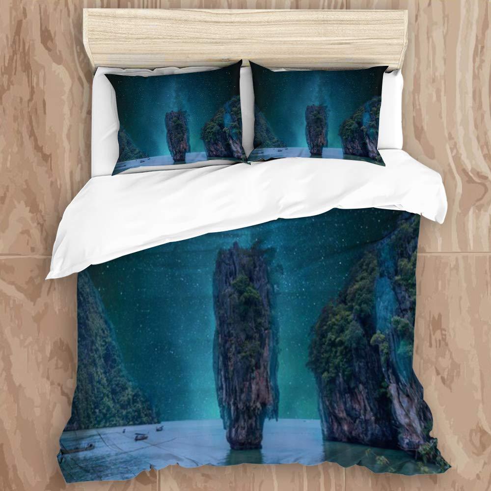 "NIKIVIVI Duvet Cover,Wonderland Heaven Fairyland Paradise Dark Blue Starry Sky Night Scenery,Modern Style Customize Bedding Set Softness with 2 Pillowcases for Teenage,Queen Size 88"" 88"""