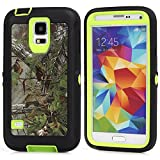 MOONCASE Galaxy S5 Case, [Realtree Camo Series] 3 Layers Heavy Duty Defender Hybrid Soft TPU +PC Bumper Triple Shockproof Drop Resistance Protective Case Cover for Samsung Galaxy S5 -Green Tree