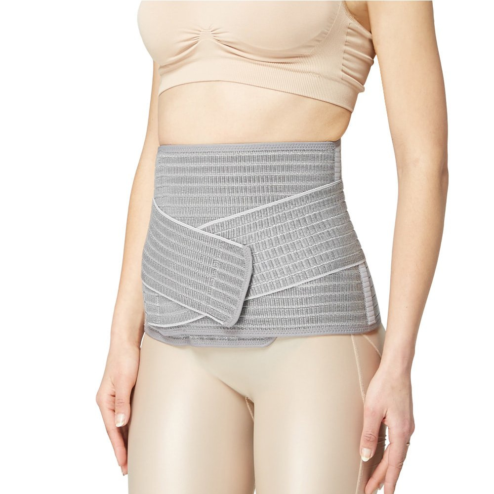 Mamaway Bamboo Nano Postnatal Support Belly Band, Adjustable Waist Trimmer Belt, Postpartum Slimmer Wrap, Pelvis/C-Section Recovery Girdle After Pregnancy, Breathable Tummy Slimmer Shapewear (Gray, M)