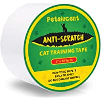 Petslucent Cat Scratch Deterrent Sticky Paws Tape, Cat Furniture Protector Training Tape Anti Scratching, Double Sided Guards for Carpet, Sofa, Couch, Door, Better Than Repellent Spray, 3''x 30 Yards