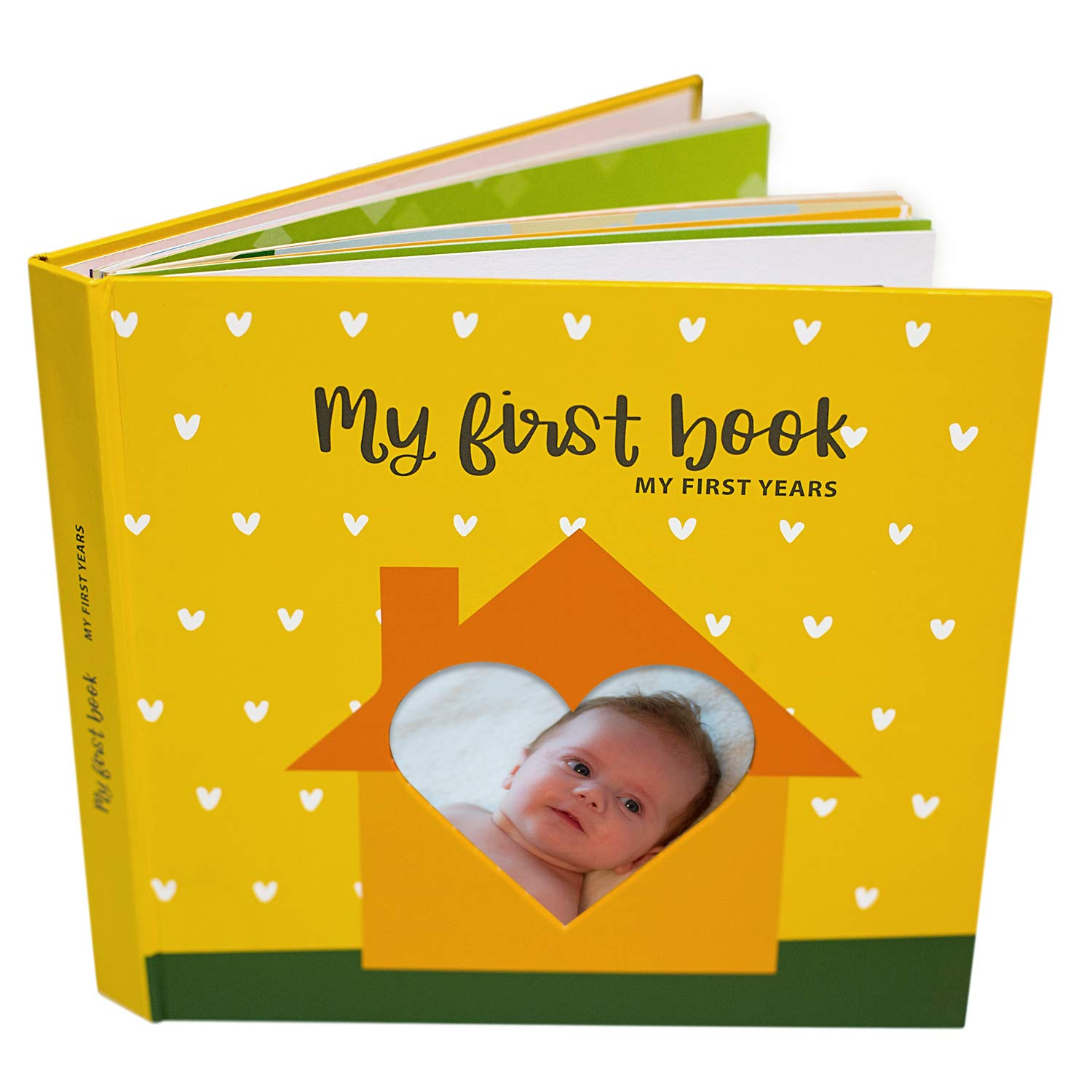First 5 Years Baby Memory Book - Unisex Baby Journal with Clean Touch Ink Pad for Baby Footprint and Handprint Set - Baby Scrap Book - Baby Memory Books by BabelJoy