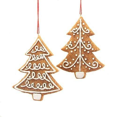 gisela graham set of 2 gingerbread design hanging christmas tree decorations