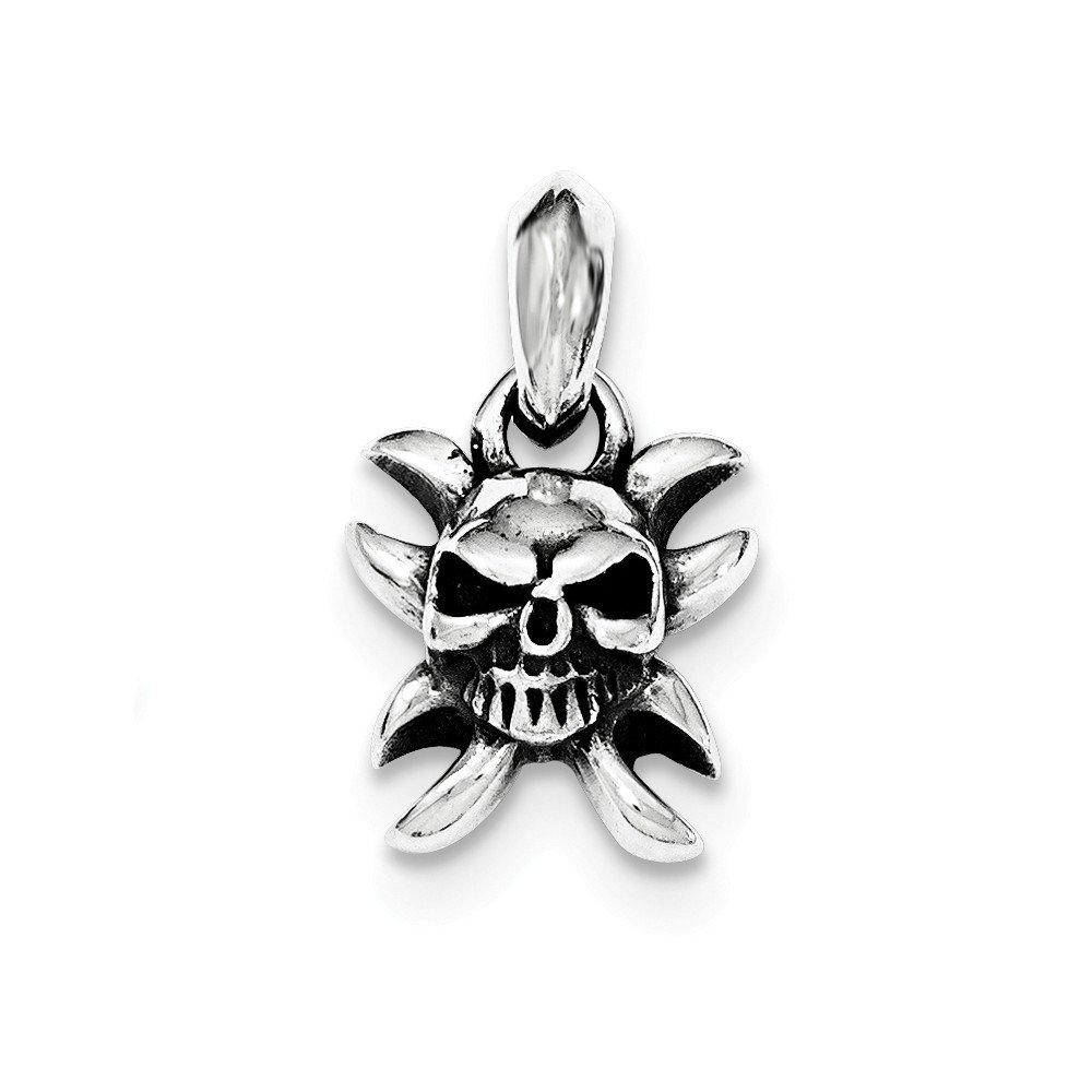 Mia Diamonds 925 Sterling Silver Antiqued Skull Pendant