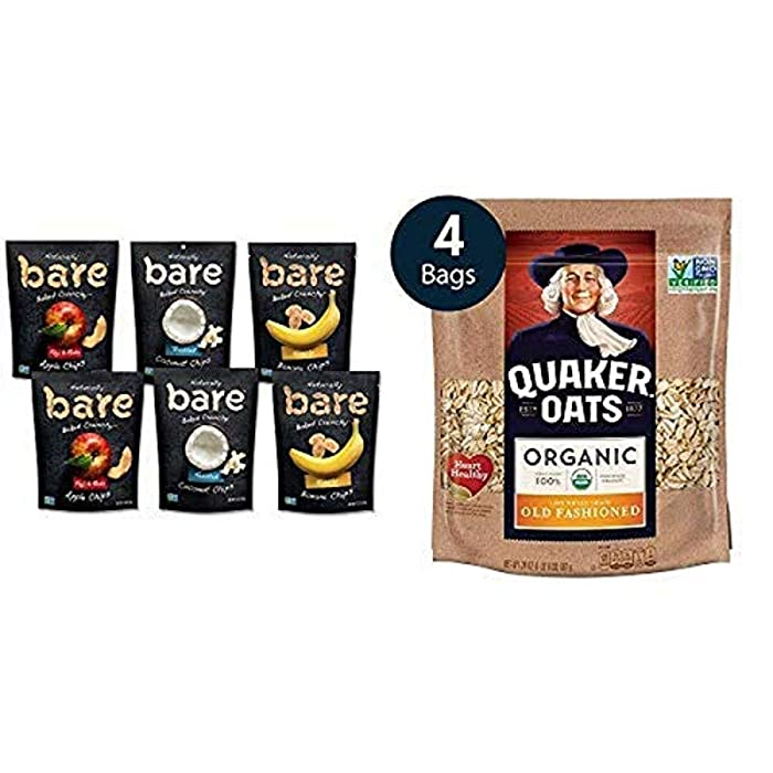Bare Baked Crunchy Apple Chips, Banana Chips, and Coconut Chips, Variety Pack with Quaker Old Fashioned Rolled Oats, USDA Organic, 24oz Resealable Bags
