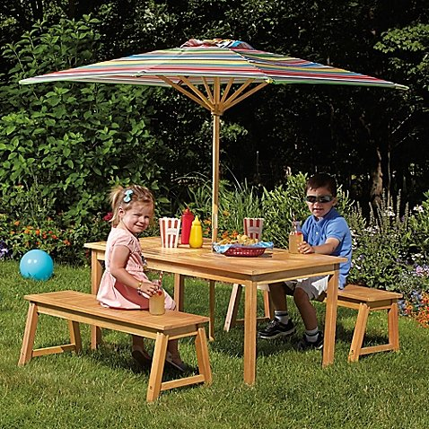 Amazon Com Kid S Acacia Wood 4 Piece Fun Durable Outdoor Picnic