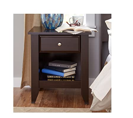 Bedroom Nightstand Organizer Modern Nightstands Bookshelf Drawer Black Brown