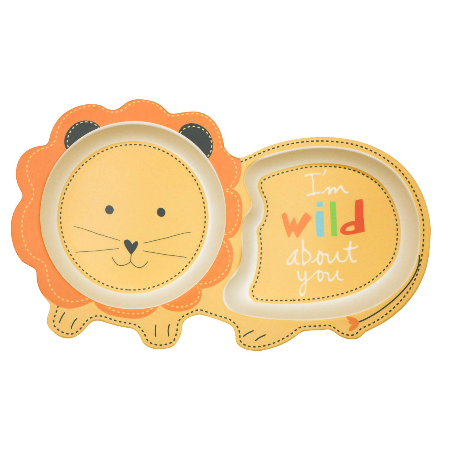 Pack of 2 Elephant Shape 2 PCS Baby Weaning Bowl with Compartments BPA Free Children Sectioned Plate Toddler Divided Plates Baby Feeding Plate Kids Bamboo Plates