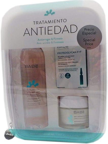 Babe Pack Anti Edad Crema Antiarrugas y reafirmante facial +Agua Micelar+Proteoglycan F+F Ampollas: Amazon.es: Belleza