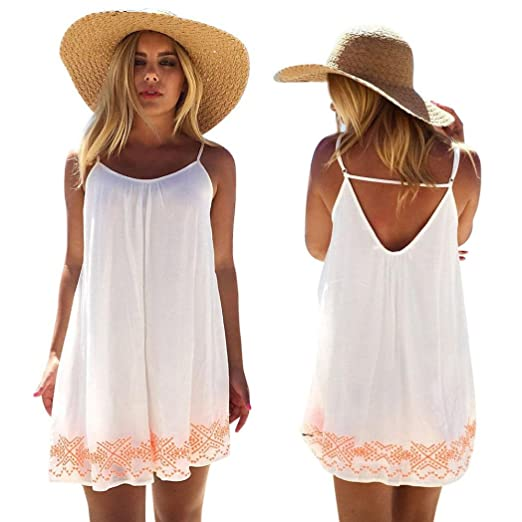 987f350cbf7 Image Unavailable. Image not available for. Color  Kangma Women Sexy Off  Shounder Sleeveless Backless Short Summer Boho Party Beach Mini Dress