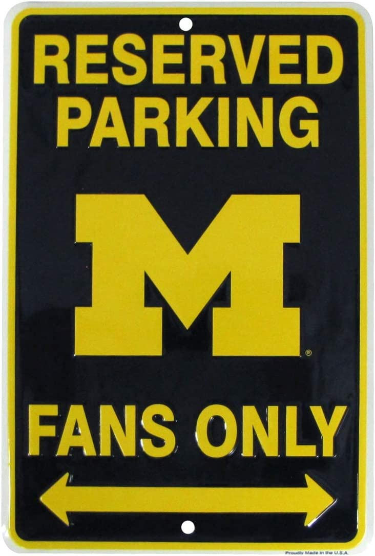 TG,LLC Treasure Gurus Michigan Wolverines Fan Parking Only 8x12 Metal Sign Game Room Man Cave Wall Decor