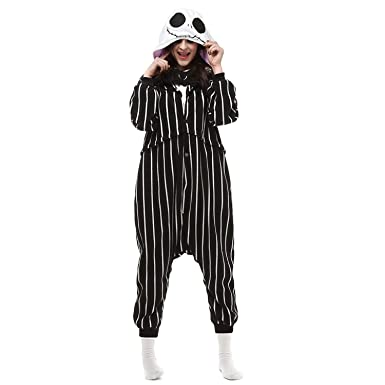 7b79dae399 Amazon.com  Jack Skellington Onesie for Adult and Teenagers.Skeleton  Halloween Costume for Women and Men.  Clothing