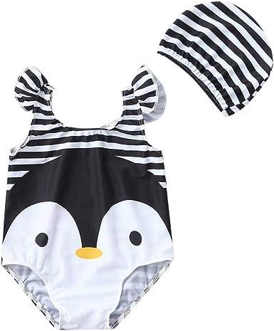 bañador Natacion Rayas con Gorra para niña bebé 0 a 4 años, Trajes de baño Rayas bañador de una Pieza niña niño Ropa de Playa bañador niña Bebes Negro 3-4 años: Amazon.es: