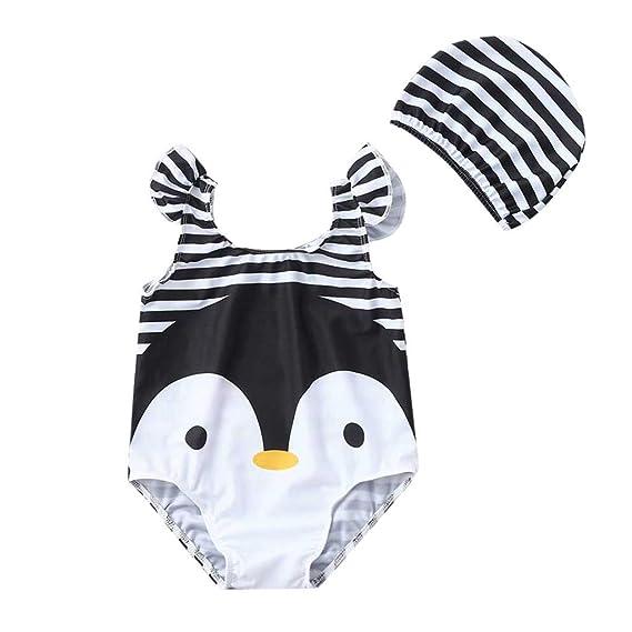 bañador Natacion Rayas con Gorra para niña bebé 0 a 4 años, Trajes de baño Rayas bañador de una Pieza niña niño Ropa de Playa bañador niña Bebes