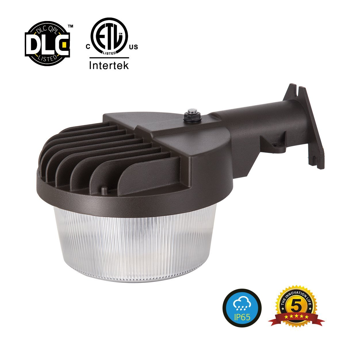 JJC Lighting Dusk-to-dawn 40W (300W Equiv.), LED Outdoor Barn Light (Photocell Included), 3000K Warm White, 4800lm Area Light, DLC & ETL-listed Yard Floodlight, Wet Location Available, 5-year Warranty