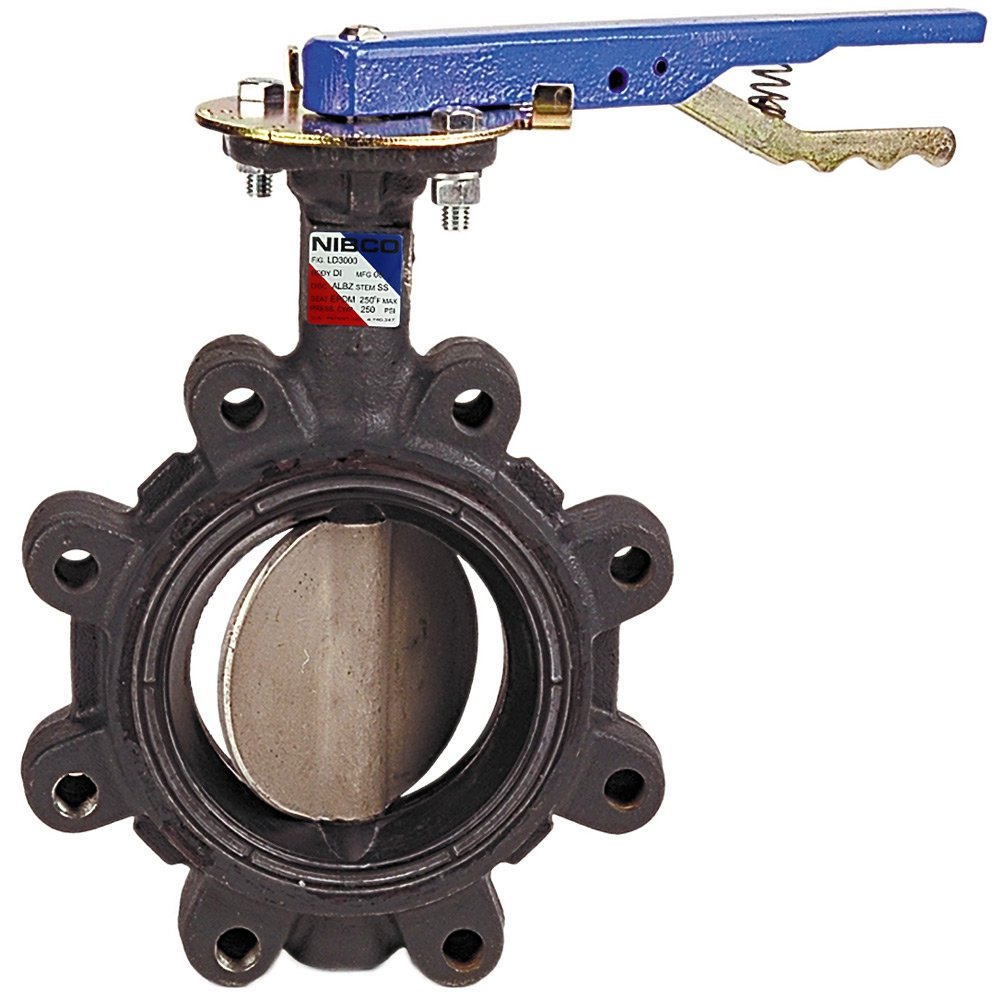 NIBCO LD-2000-3 Series Ductile Iron Butterfly Valve with EPDM Liner and Aluminum Bronze Disc, Lever-Lock Handle, Lug, 2-1/2''