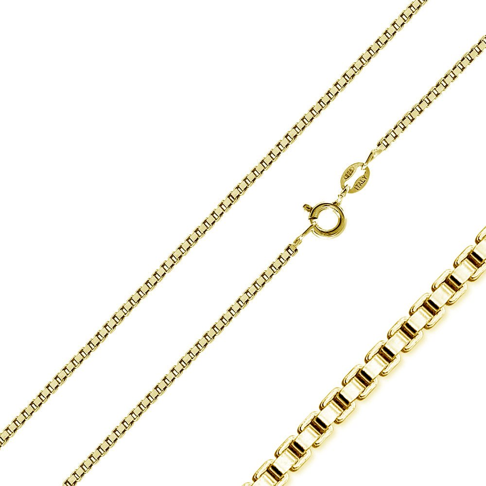 CloseoutWarehouse Yellow Gold-Tone Plated Sterling Silver Box Chains 1.0mm