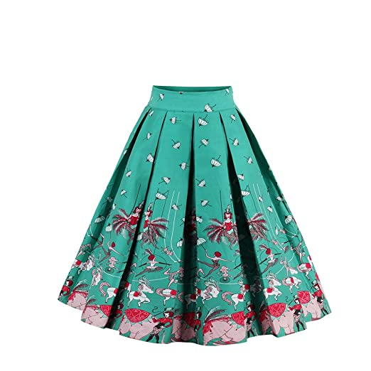 0107d43b0 Pleated Vintage Skater Swing Skirts Floral Print A-line High Waist Green S