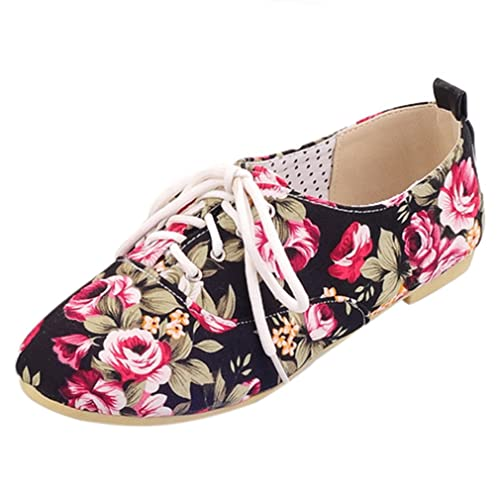 913f93220dc9 ENMAYER Womens Black Womens Girls Printed Fabric Casual Round Toe Lace up Ballet  Flats Shoes 4