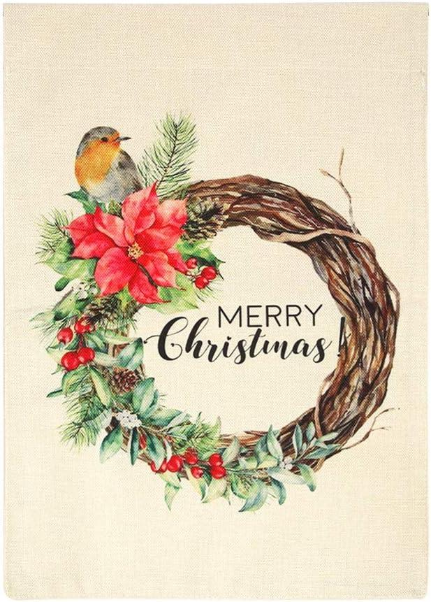 IDEALHOUSE Boxwood Wreath Seasonal Garden Flags Merry Christmas