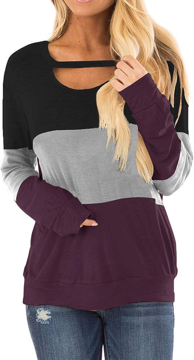 Minclouse Damen Colorblock Langarm Tunika Ausschnitt Choker Tops Rundhals Casual Lose Blusen Cute Sweatshirts: Amazon.de: Bekleidung -